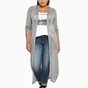 Gently Worn Torrid Pointelle Duster Cardigan